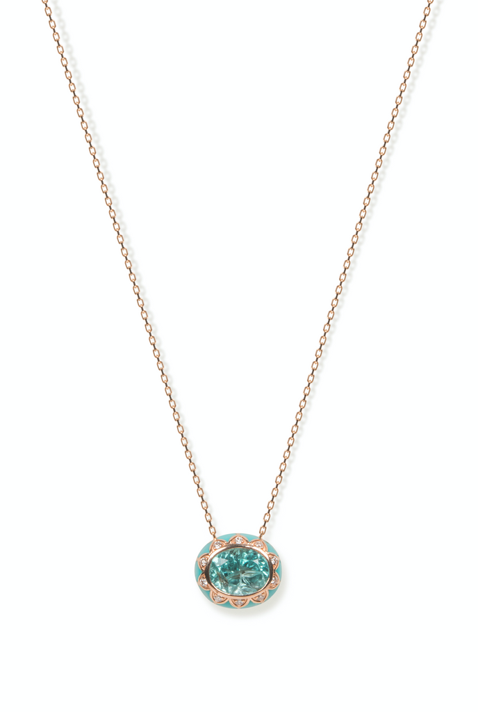 Blue Apatite with Turquoise Enamel Necklace