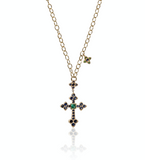Blue Sapphire and Emerald Cross Necklace