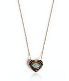 Black Enamel and Turquoise Heart Necklace