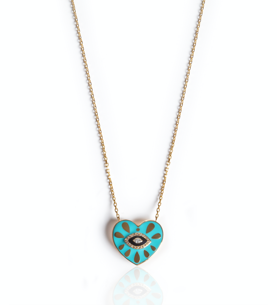 Turquoise Enamel Heart Eye Necklace
