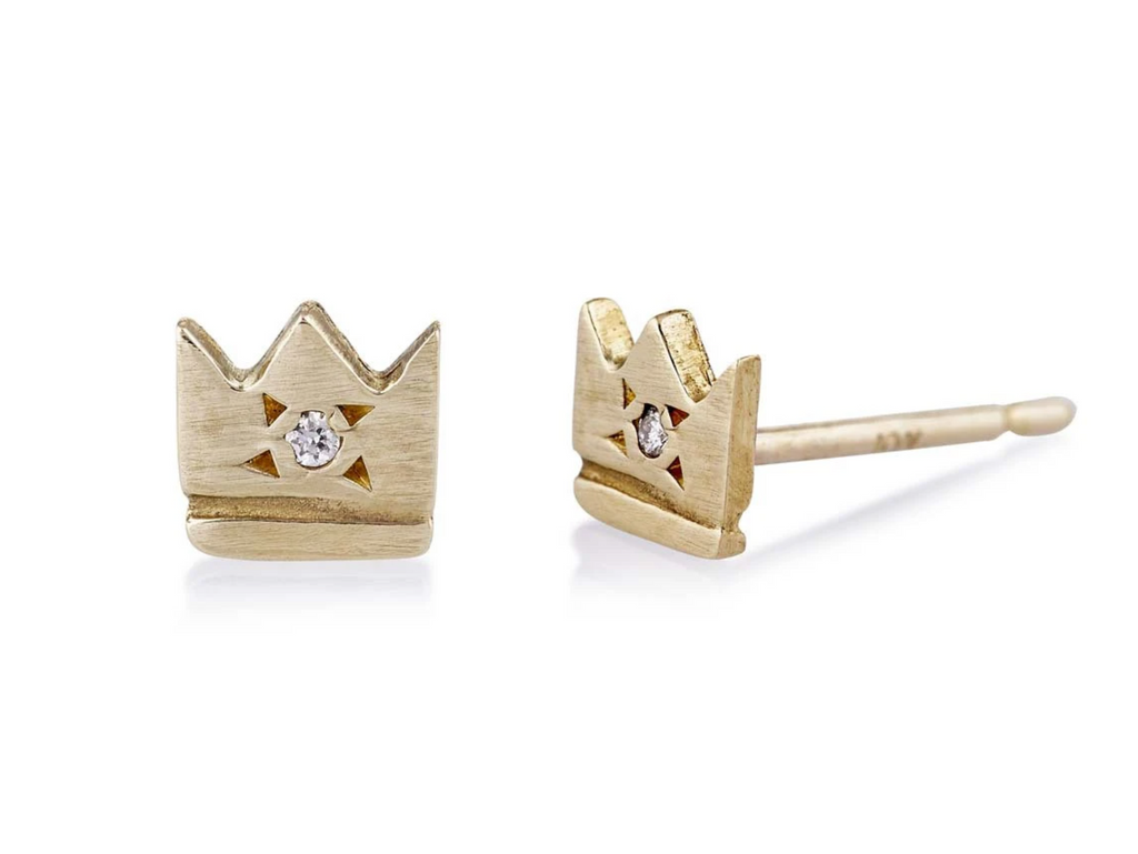 Tiny Crown Stud with Diamonds