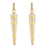 Lisse Long Pave Feather Earring Charms