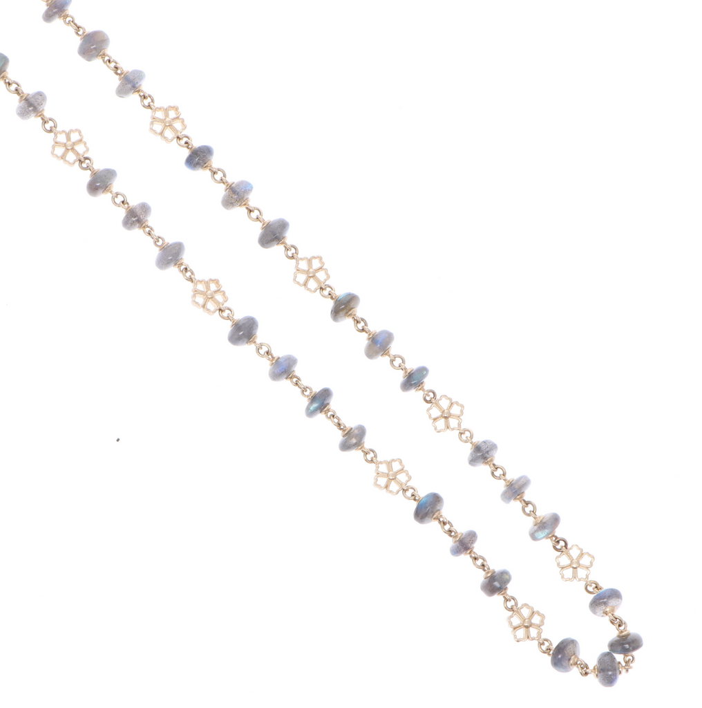 Laborite Yellow Gold Necklace with Flower Stations 34""