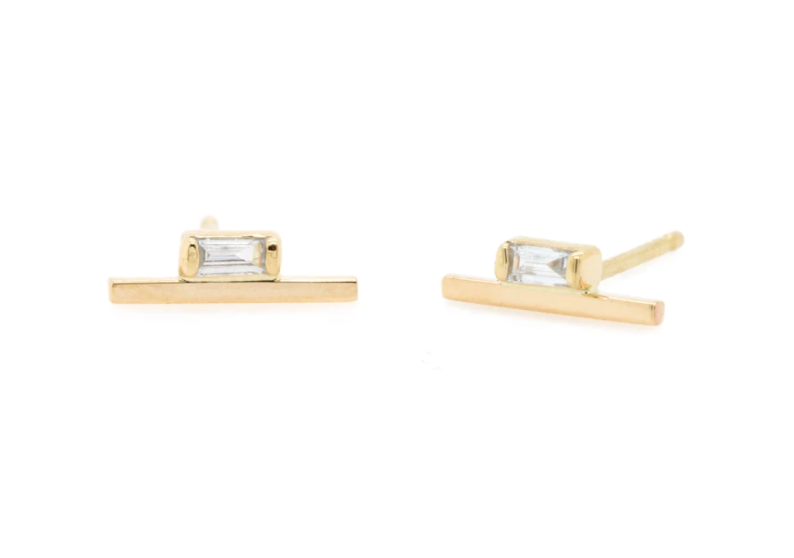 14K GOLD BAGUETTE DIAMOND BAR STUDS- Pair