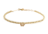 14K SMALL GOLD BEAD AND MIDI BITTY BUTTERFLY BRACELET