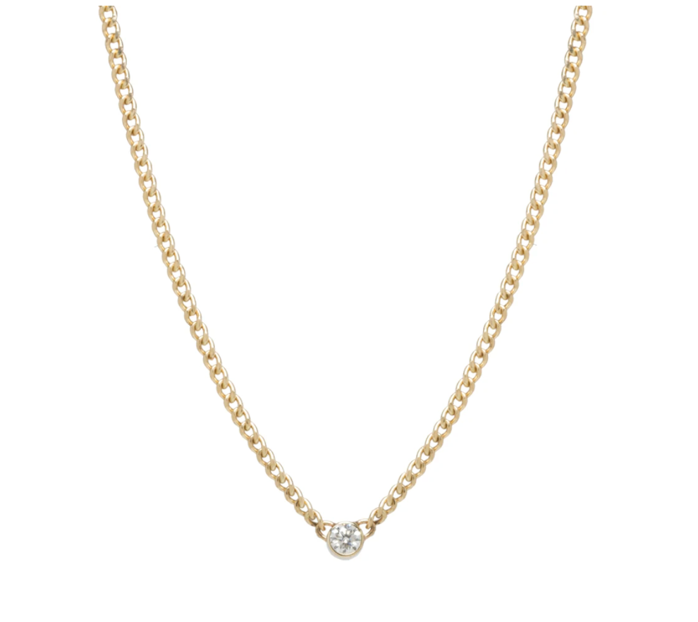 14K EXTRA SMALL CURB CHAIN BEZEL DIAMOND NECKLACE