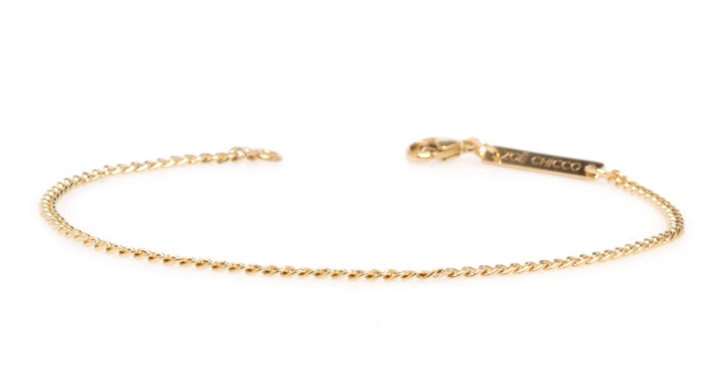 14k extra small hollow curb chain bracelet