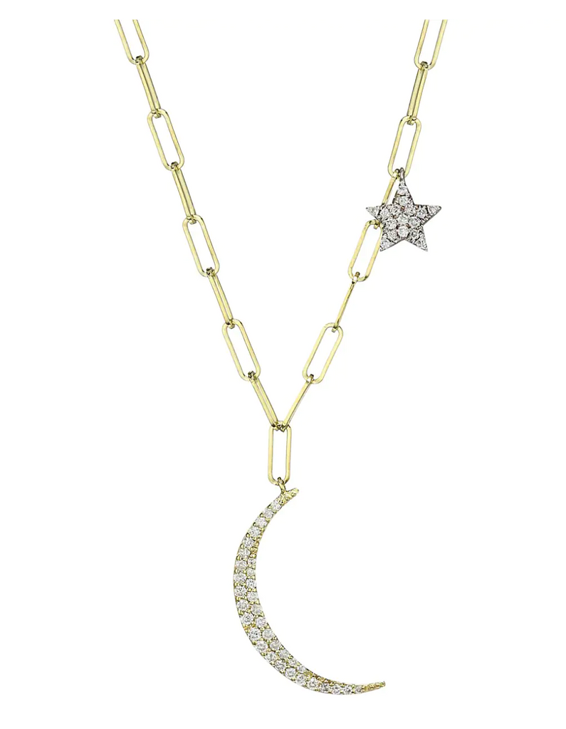 Diamond Moon and Star Paperclip Necklace