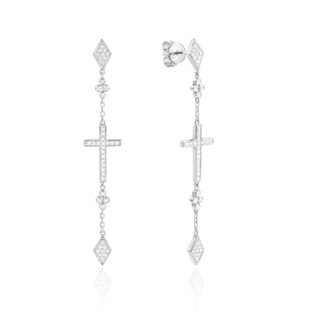 Cross and Clover Drop Earrings