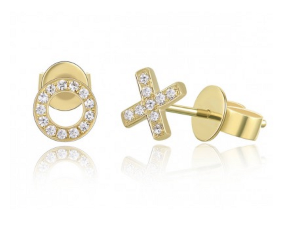X and O Diamond Stud Earring