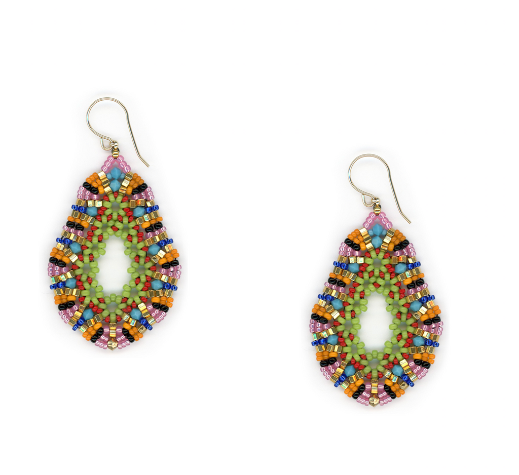 Rainbow Open Teardrop Earrings