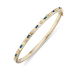 18K Sapphire Baguette and Diamond Bangle