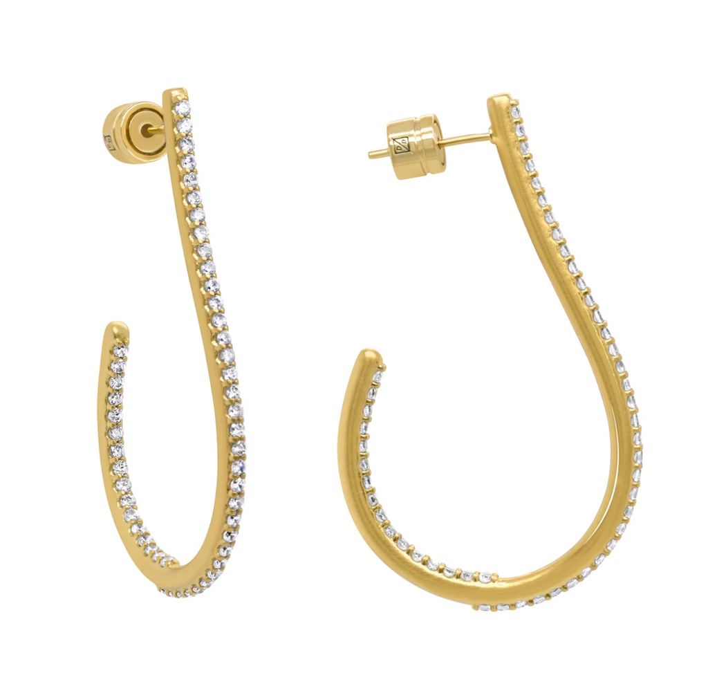 Pave Teardrop Hoop Earrings In White Topaz/gold