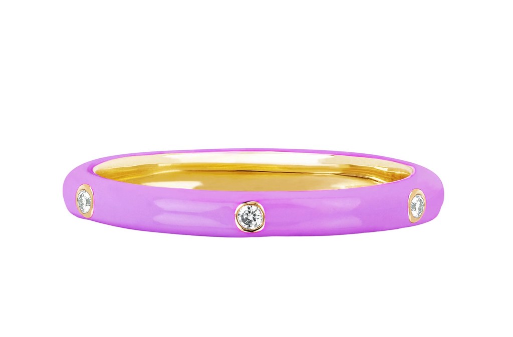 5 Diamond Lavender Enamel Stack Ring