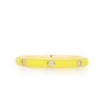 5 Diamond Yellow Enamel Stack Ring