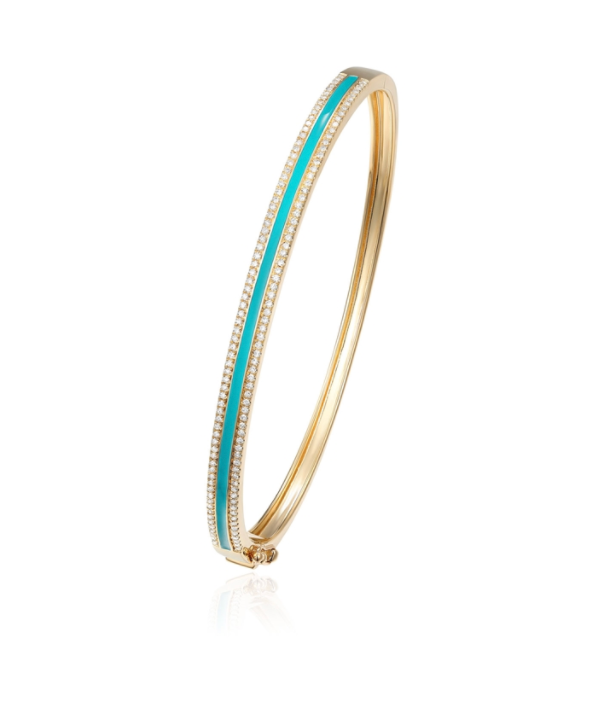 Turquoise and Enamel Diamond Bangle
