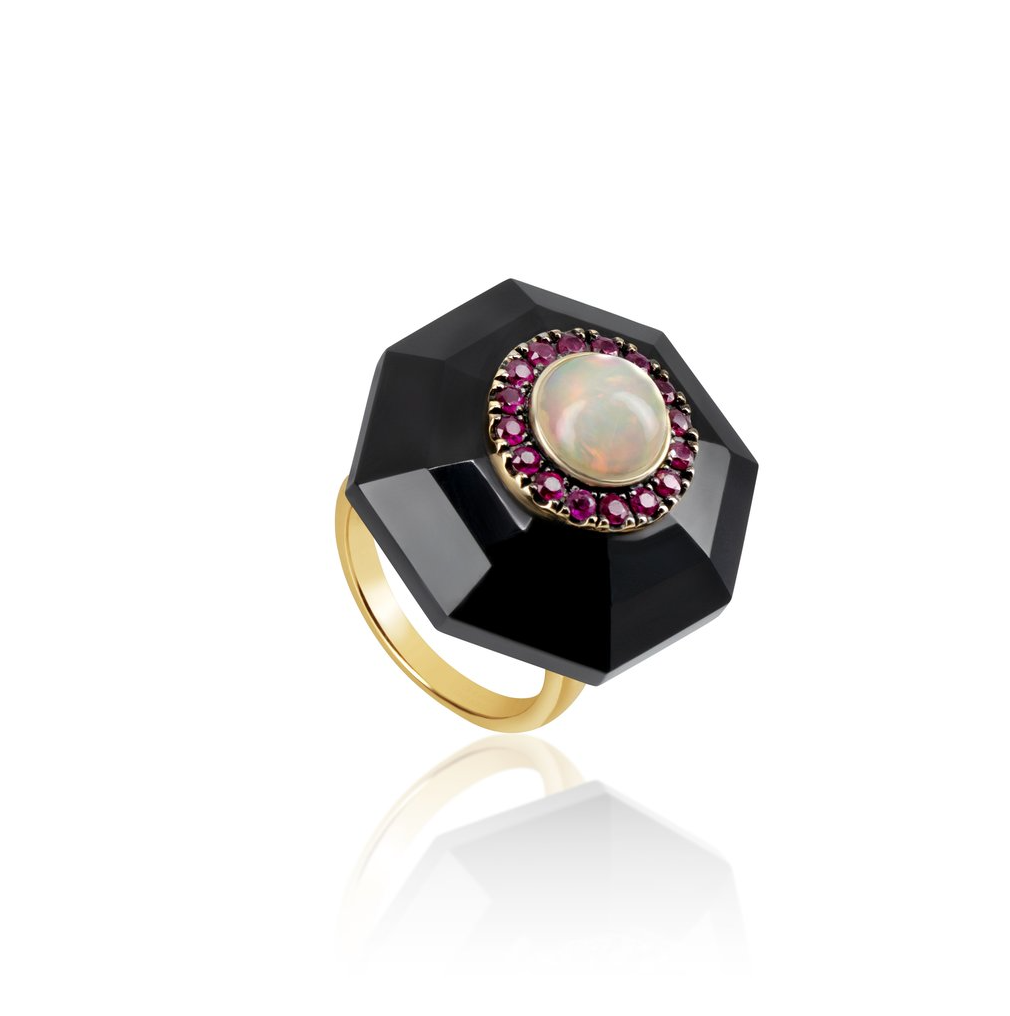Black Onyx Hexagon Ring