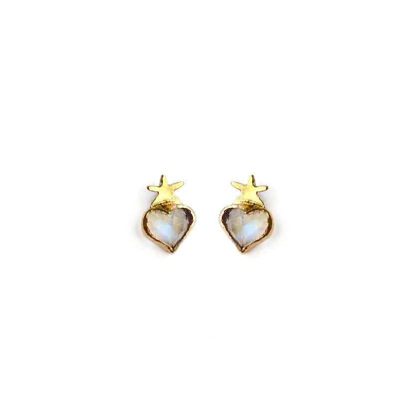 Moonstone Guided Heart Studs