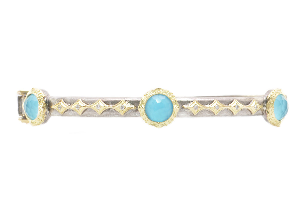 18KT Yellow Gold & Sterling Turquoise Huggie Bracelet