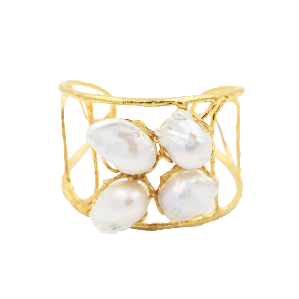 Baroque Pearl and Gold Cuff