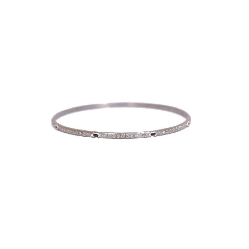 New World Silver Sapphire & Diamond Bangle