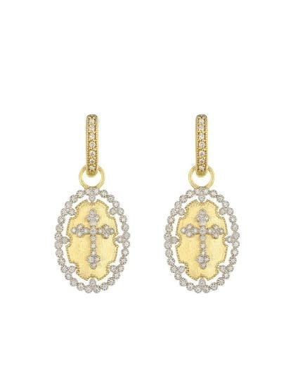Provence Champagne Oval Bezel Cross Earrings
