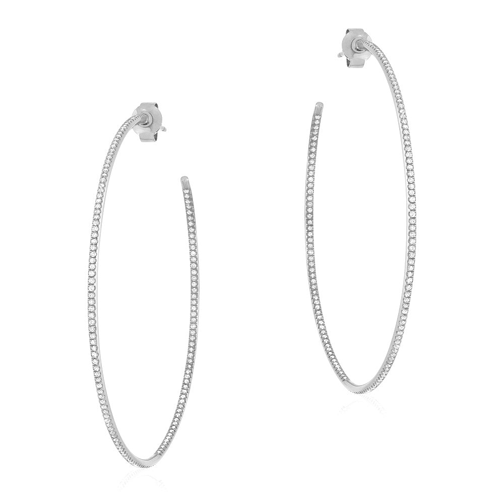 50mm In And Out Diamond Hoop Earrings