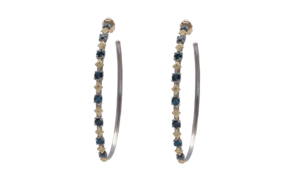 Blue Green Tourmaline Hoops