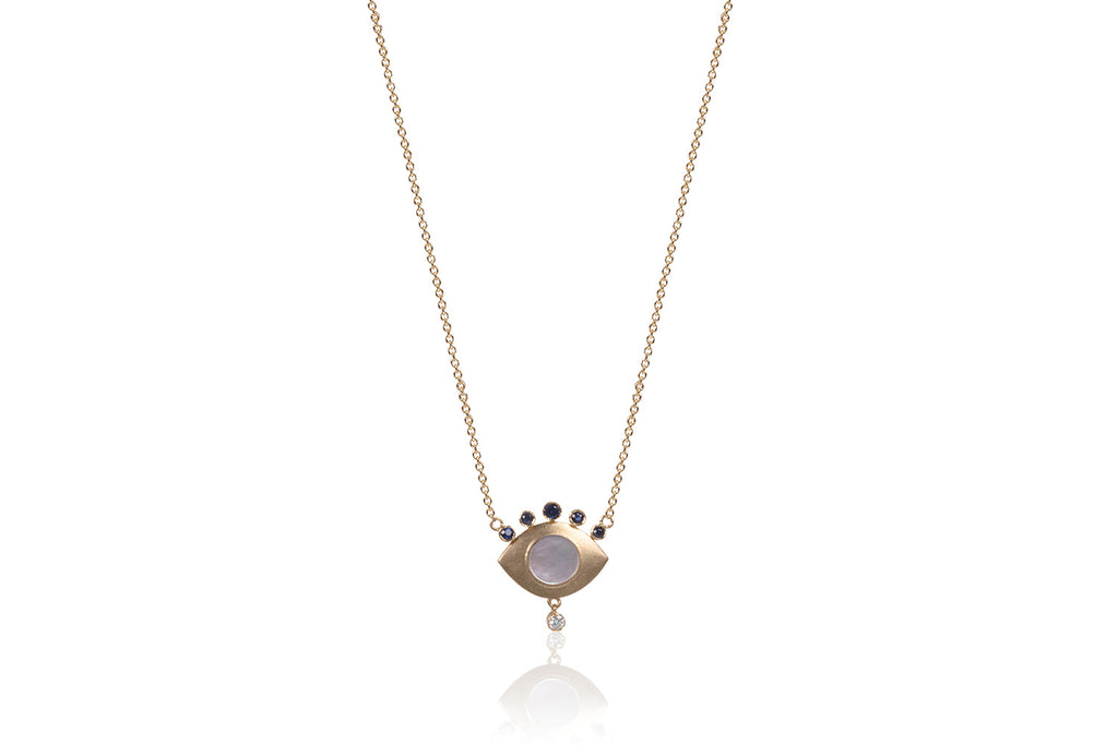 Mother of Pearl with Sapphires and Diamonds Eye Necklace