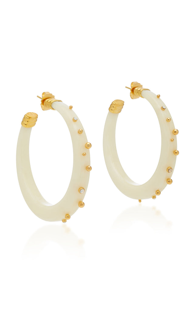 Gold and Ivory Creole Celeste Earrings