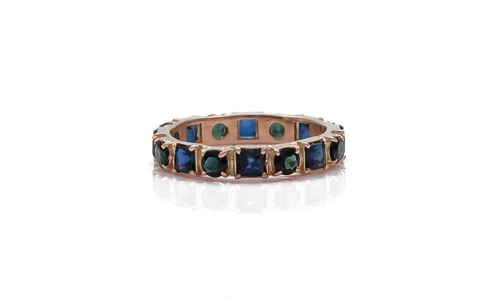 Rose Gold and Blue Sapphire Stack Ring