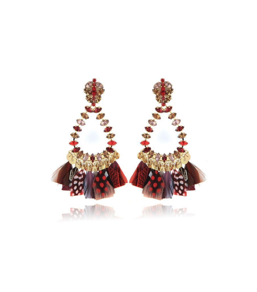Riviera Crystal & Feather Earrings