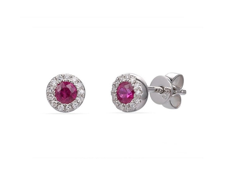 White Gold Ruby Halo Studs