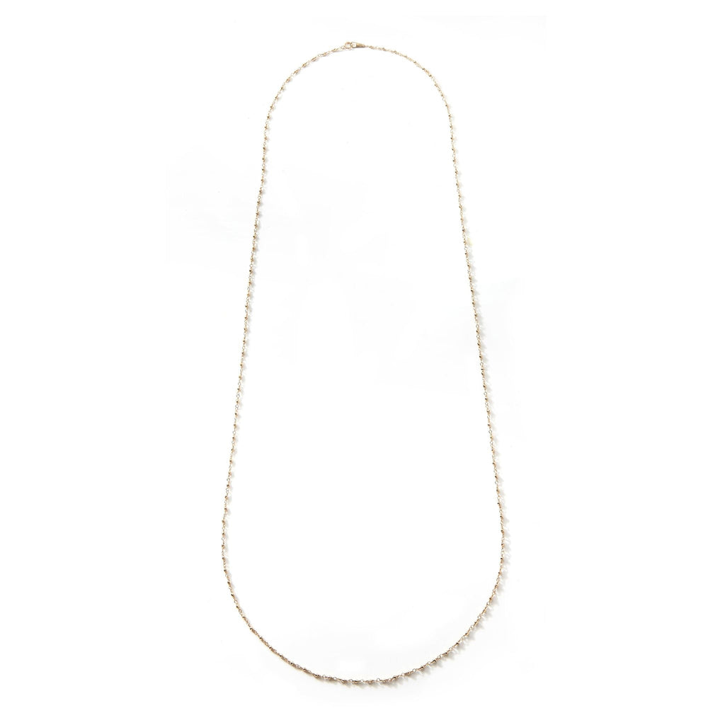 14K Long Wrapped Beaded Chain