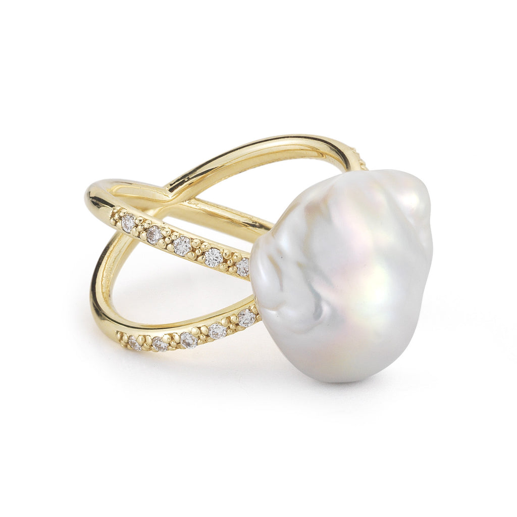 Yellow Gold Baroque Pearl Ring