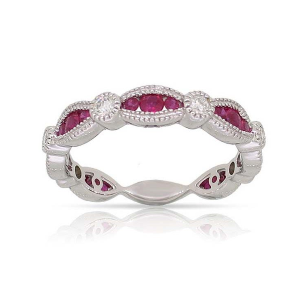 White Gold Ruby & Diamond Scalloped Band