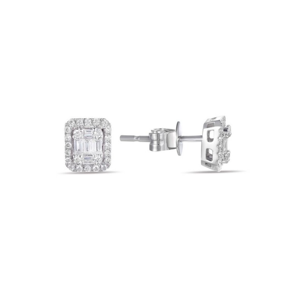 White Gold Diamond Baguette Halo Earrings