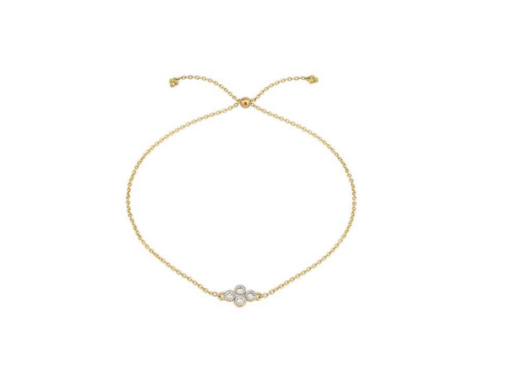 Petite Diamond Quad Quad Chain Bracelet Yellow Gold
