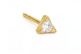Yellow Gold Petite White Diamond Trillion Stud