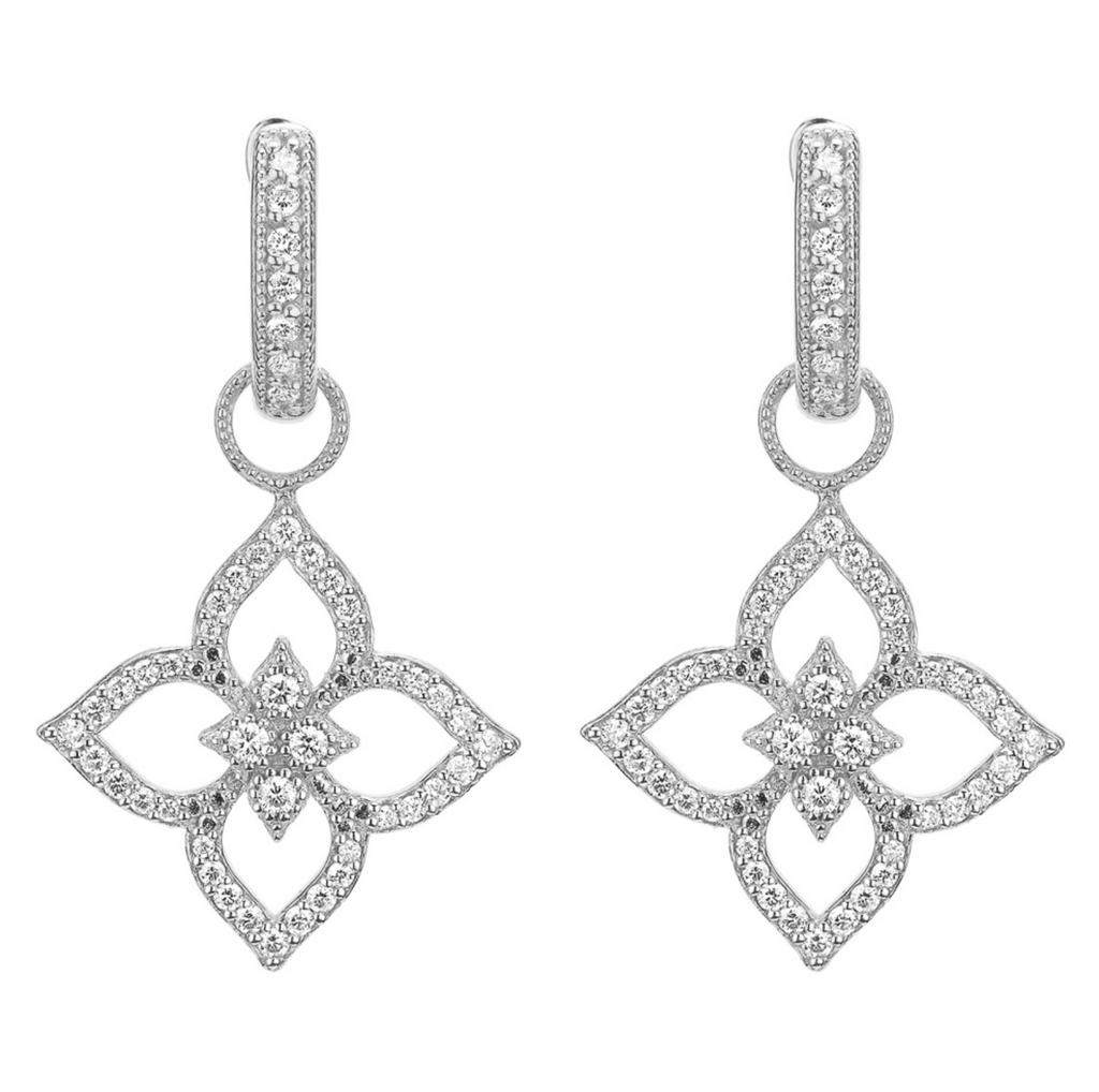 Moroccan Flower Open Earring Charms White Gold