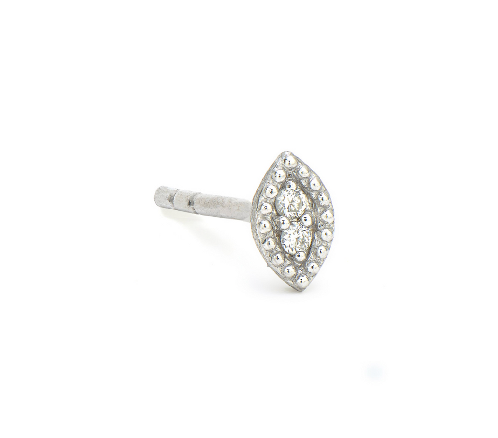 White Gold Marquis Petite Stud