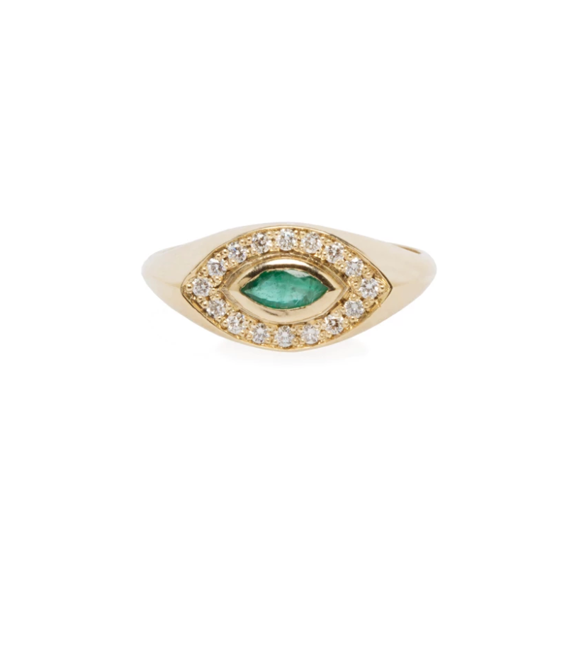 14k Gold Marquise Signet Ring with Emerald Marquis