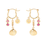 Ocean Treasure Pink Sapphire and Ruby Earrings