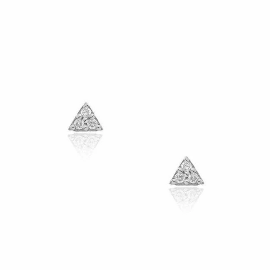 14K White Gold Petite Triangle Post Earrings