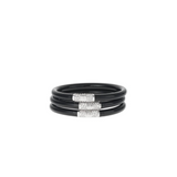 Black Bangles With Silver Bead Medium (3 Pack)