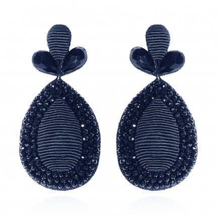 Navy Fushan Lights Teardrop Earrings