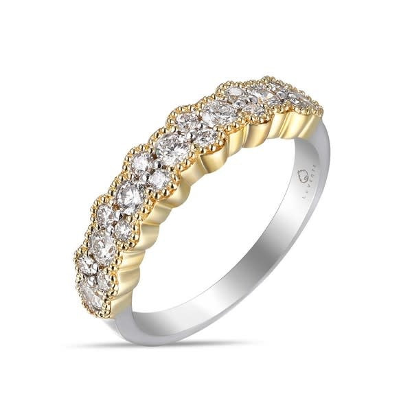 Two Tone Diamond Cluster Band