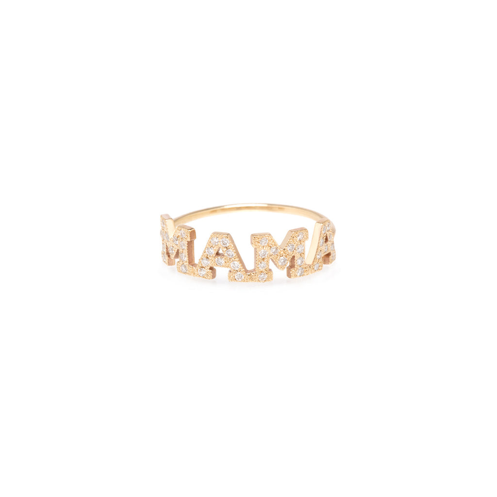 14K Gold MAMA Ring with White Pave Diamonds