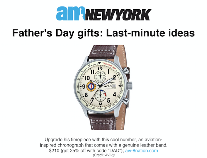 AV-4011-04 Featured in AM New York Article About Best Father's Day gifts