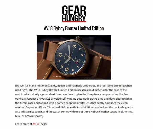 AVI-8 Bronze Flyboy Limited Edition Featured on Gear Hungry